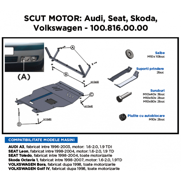 Scut motor metalic ASAM Skoda Octavia 1998-2007