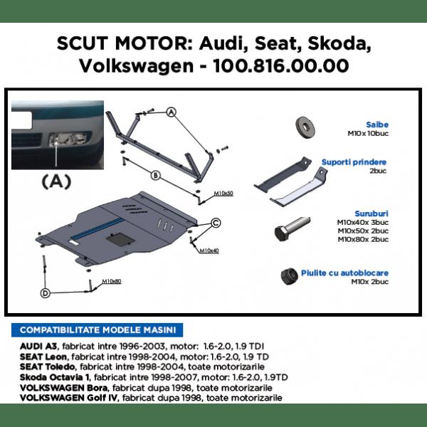 Scut motor metalic ASAM Volkswagen Bora 1998-Prezent