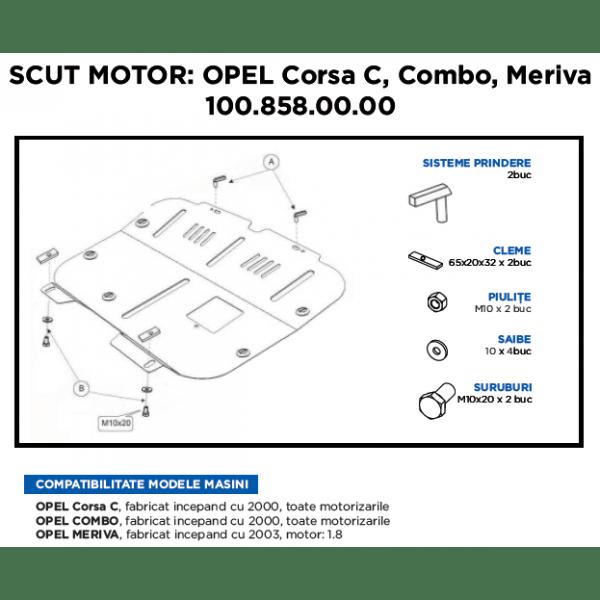Scut motor metalic ASAM Opel Corsa C 2000-Prezent