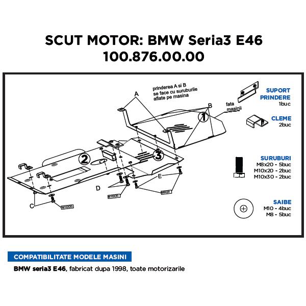 Scut Motor Metalic Asam Bmw Seria 3 E46 1998-prezent
