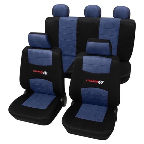 Huse scaune auto Petex Universal Carbon Albastru