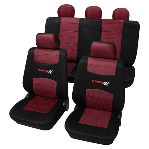 Huse scaune auto Petex Universal Carbon Rosu