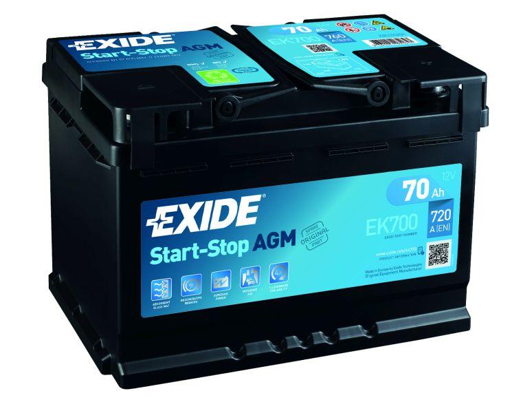 Baterie auto Exide Start-Stop AGM 70Ah 12V EK700