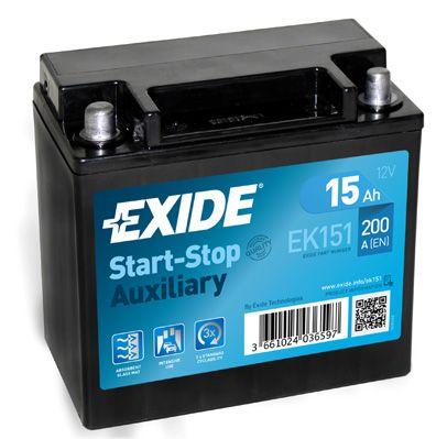 Baterie auto Exide Start-Stop Auxiliary 15Ah 12V EK151