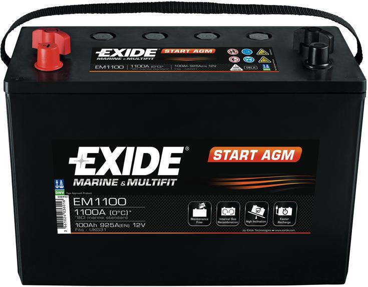 Baterie auto Exide Start AGM 100Ah 12V EM1100