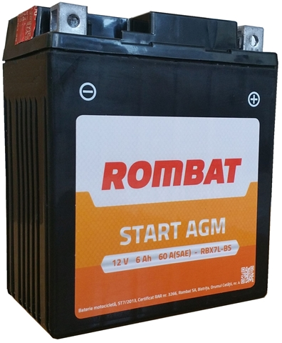 Baterie motocicleta Rombat Agm 60A 12V RBX7A