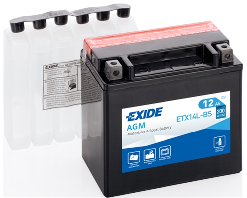 Baterie motocicleta Exide Agm 12Ah 12V ETX14L-BS