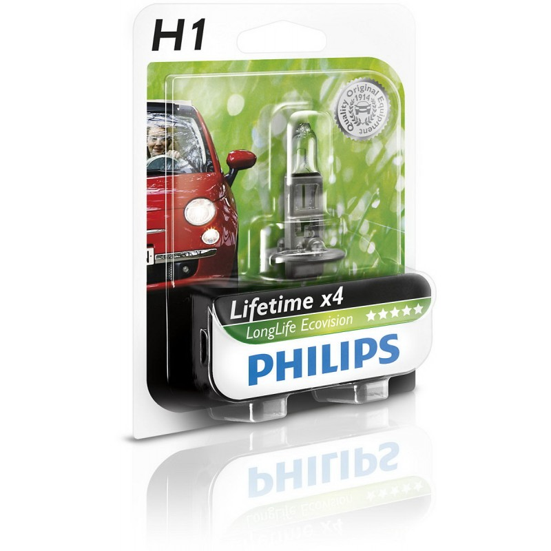 Bec auto halogen pentru far Philips Long Life EcoVision H1 55W 12V 12258LLECOB1