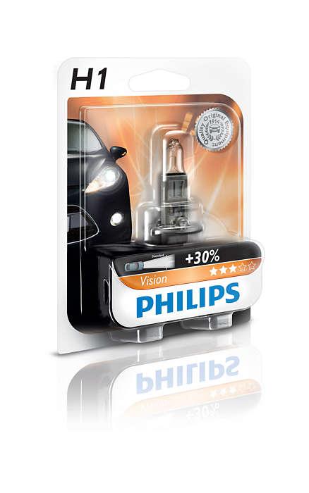 Bec auto halogen pentru far Philips Vision +30% H1 55W 12V 12258PRB1