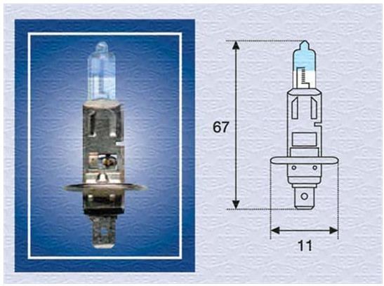 Bec auto halogen pentru far Magneti Marelli XL +50% H1 55W 12V