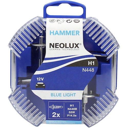 Set 2 becuri auto halogen pentru far Neolux Blue Light H1 55W 12V