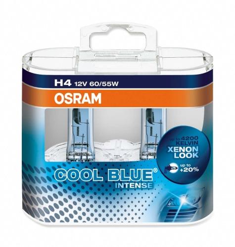 Set 2 becuri auto halogen pentru far Osram Cool Blue Intense H4 60/55W 12V 64193CBI