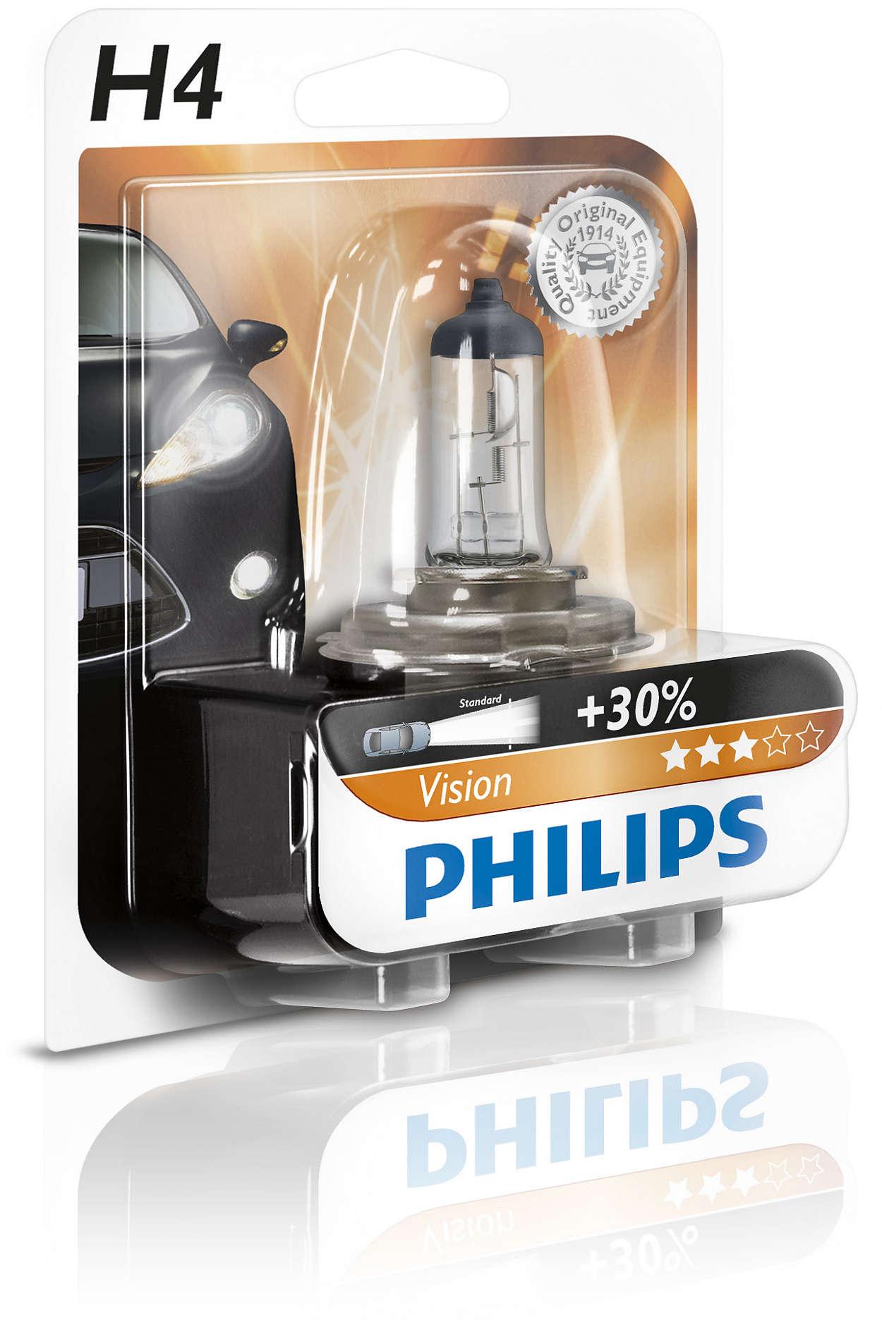 Bec auto halogen pentru far Philips Vision +30% H4 60/55W 12V 12342PRB1