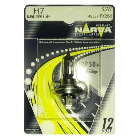 Bec auto halogen pentru far Narva Range Power +50% H7 55W 12V