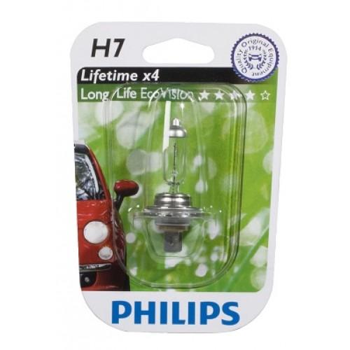 Bec auto halogen pentru far Philips Longlife EcoVision H7 55W 12V 12972LLECOB1