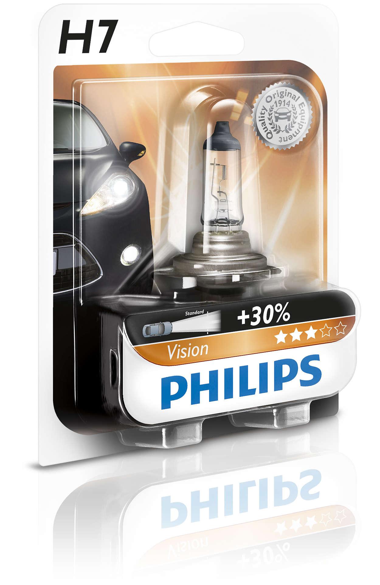 Bec auto halogen pentru far Philips Vision +30% H7 55W 12V 12972PRB1