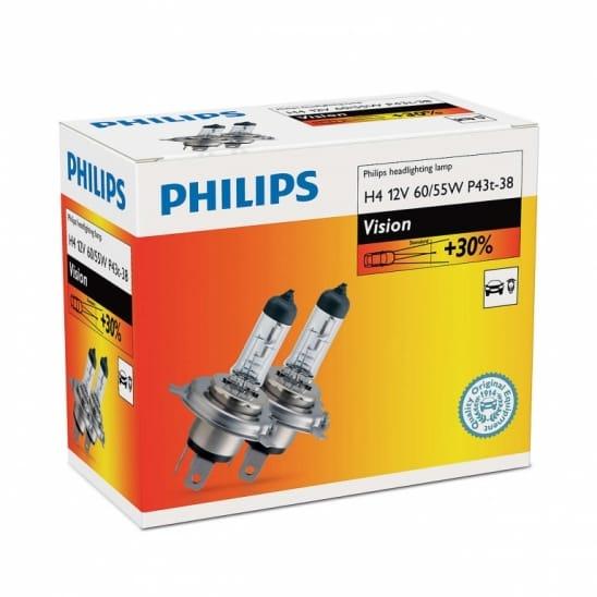 Set 2 becuri auto halogen pentru far Philips Vision +30% H7 55W 12V 12972PRC2