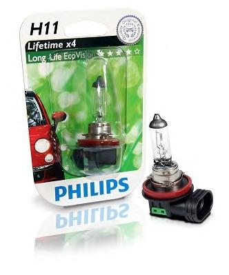 Bec auto halogen pentru far Philips Longlife EcoVision H11 55W 12V 12362LLECOB1