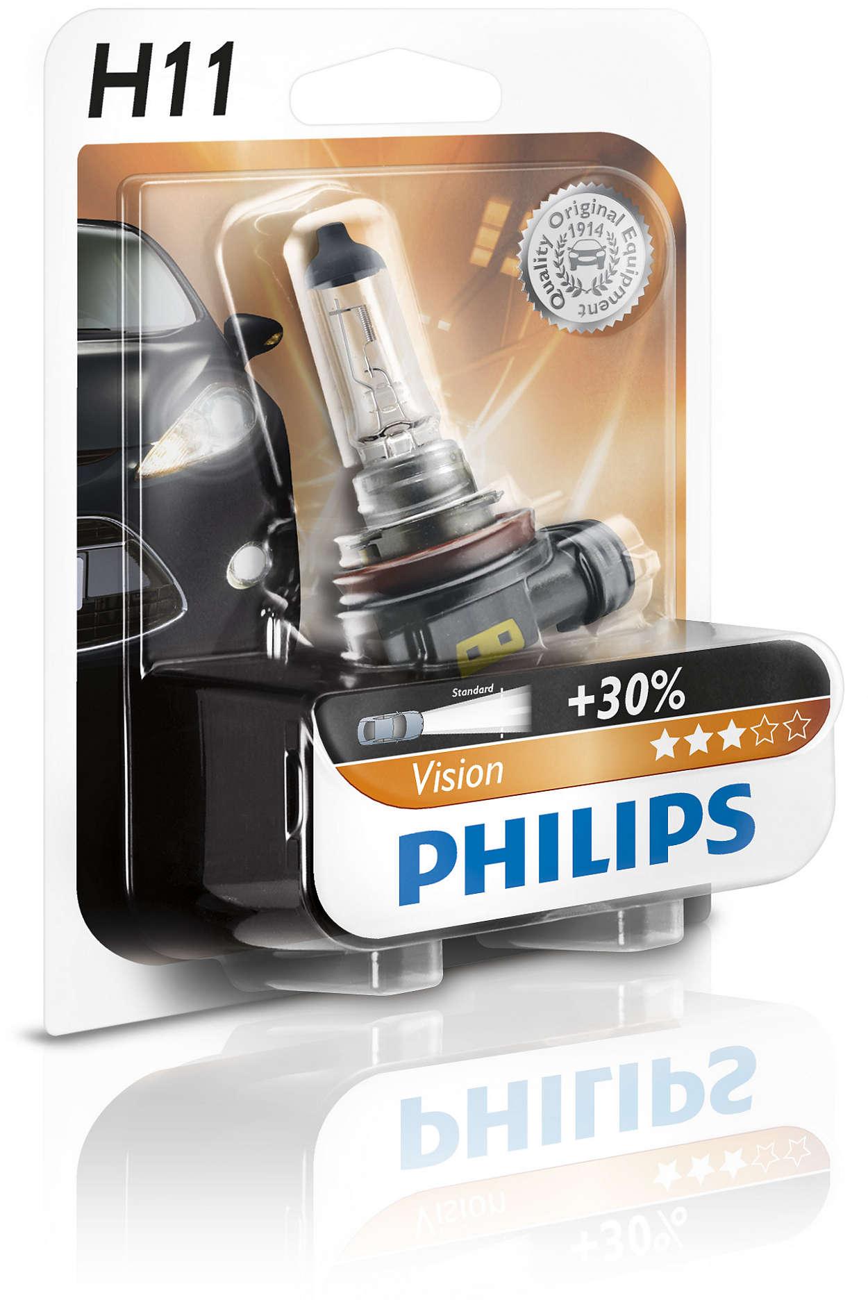 Bec auto halogen pentru far Philips Vision +30% H11 55W 12V 12362PRB1