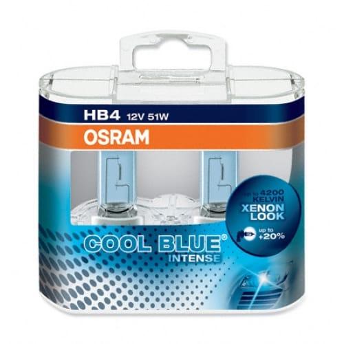 Set 2 becuri auto halogen pentru far DuoBox Osram Cool Blue Intense HB4 51W 12V