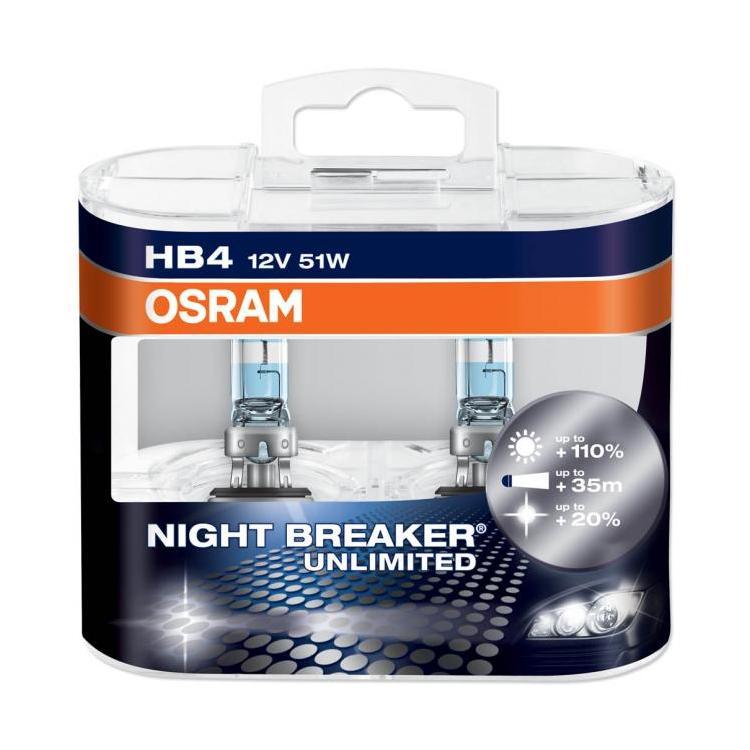 Set 2 becuri auto halogen pentru far Osram Night Breaker Unlimited HB4 51W 12V 9006NBU