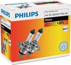 Set 2 becuri auto halogen pentru far Philips Vision +30% H4 60/55W 12V 12342PRC2