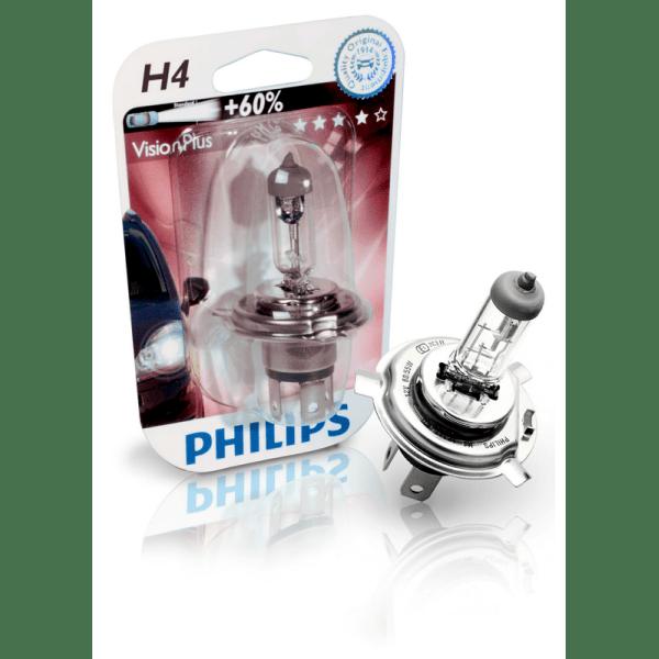 Bec auto halogen pentru far Philips VisionPlus +60% H4 60/55W 12V 12342VPB1