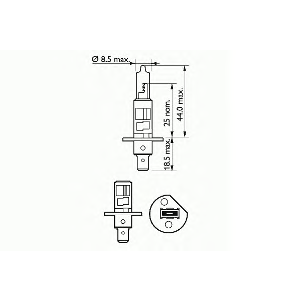 Bec auto halogen pentru far SCT H1 Basic 55W 12V 202631