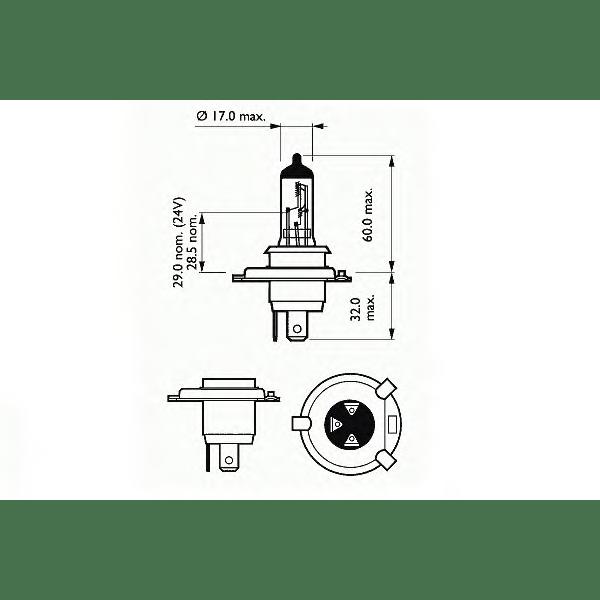 Bec auto halogen pentru far SCT H4 Basic 60/55W 12V 202792