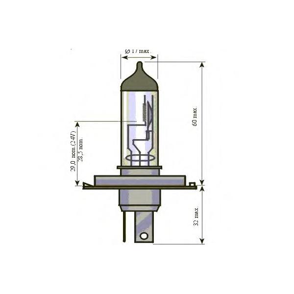 Bec auto halogen pentru far SCT H4 Basic 75/70W 24V 202167