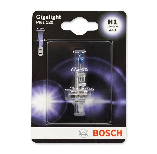 Bec auto halogen pentru far Bosch Gigalight Plus 120 H1 55W 12V 1987301108