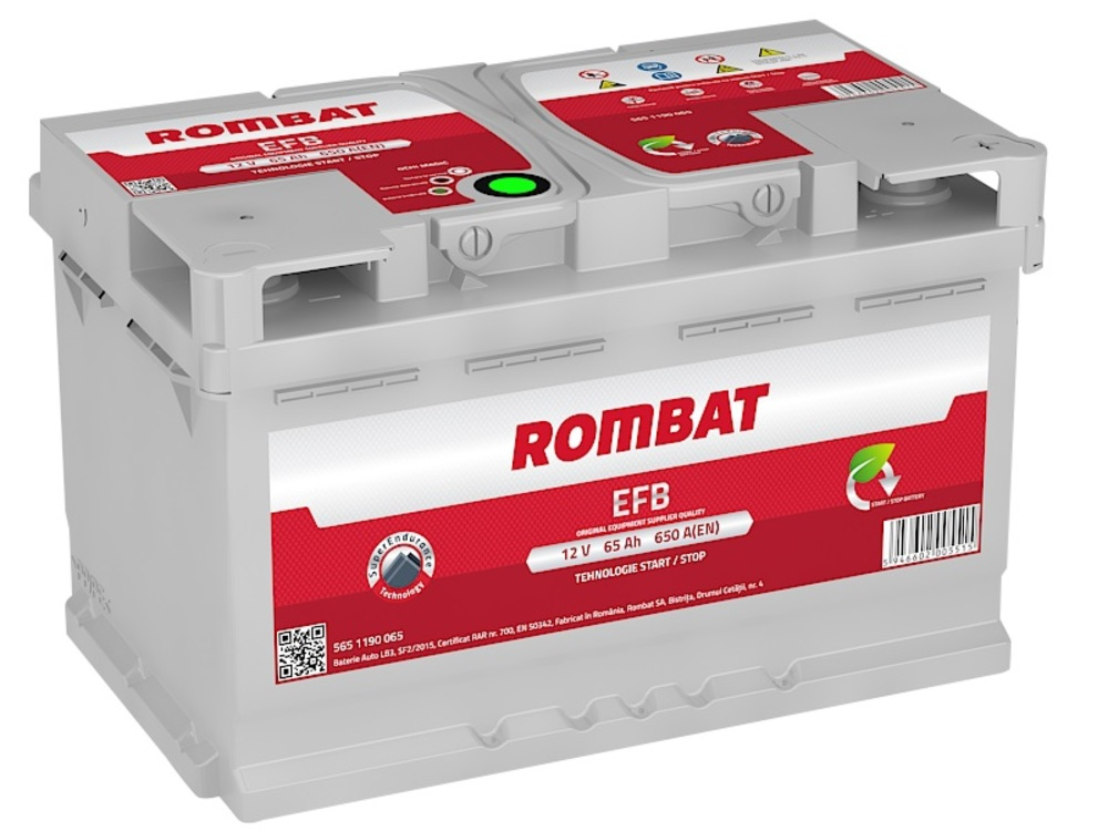 Baterie auto Rombat EFB Start-Stop 65Ah 650A 12V 5651190065