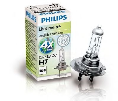 Bec auto halogen pentru far Philips Longlife EcoVision H7 55W 12V 12972LLECOC1