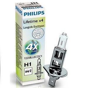 Bec auto halogen pentru far Philips Long Life EcoVision H1 55W 12V 12258LLECOC1
