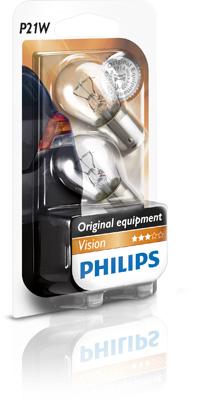 Set 2 becuri auto halogen Philips Vision P21W 21W 12V 12498B2