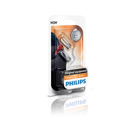 Set 2 becuri auto halogen Philips Vision W3W 3W 12V 12256B2