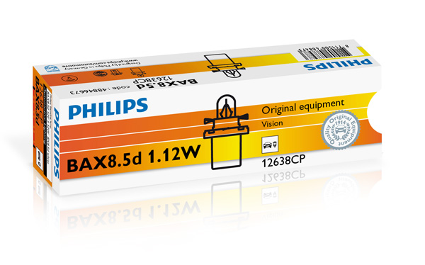 Bec auto halogen Philips Vision BAX white 1.12W 12V 12638CP