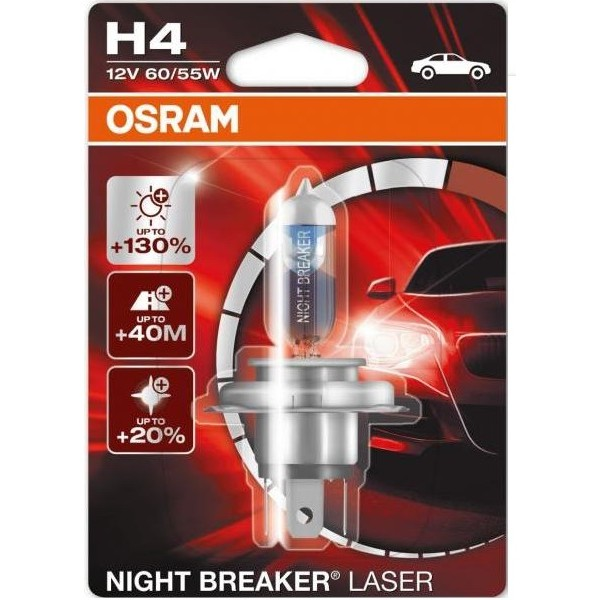 Set 2 becuri auto halogen pentru far Osram Night breaker Laser H4 60/55W 12V 64193NBL DUO