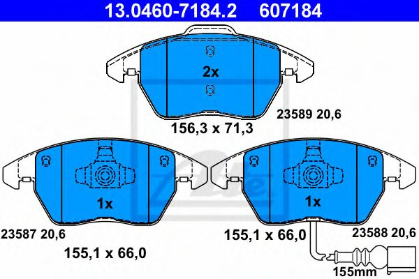 Set placute frana, frana disc ATE 13.0460-7184.2