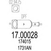 Filtru funingine/particule, sist.de esapament MTS 17.00028
