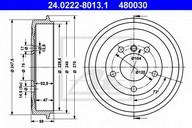 Tambur frana ATE 24.0222-8013.1